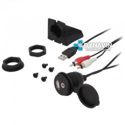 PROLONGADOR USB-A RCA (Jack 3,5mm) CON TAPA Y BASE DE FIJACION