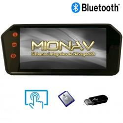 """MONITOR RETROVISOR 7"""": BLUETOOTH, A2DP, USB, SD,... AV IN + CAM IN (12/24V)"""