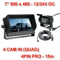 "KIT PRO VISION TRUCK MONITOR 7"" HD 15m. DC 12/24V"