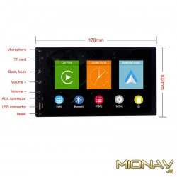 """2DIN 6,8"""" UNIVERSAL CAR PLAY, ANDROID AUTO"""