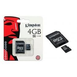 4GB. MicroSD CON ADAPTADOR PARA SD. TARJETA DE MEMORIA MARCA KINGSTON
