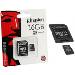 16GB. MicroSD CON ADAPTADOR PARA SD. TARJETA DE MEMORIA MARCA KINGSTON