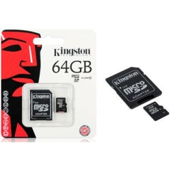 64GB. MicroSD CON ADAPTADOR PARA SD. TARJETA DE MEMORIA MARCA KINGSTON