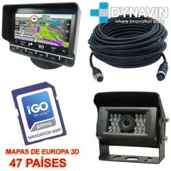 PACK - MONITOR GPS TACTIL CON CAMARA TRASERA. KIT 4PIN PROFESIONAL